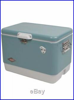 Coleman 54 Quart Steel Belted Cooler Turquoise Vintage Comfort Grip Handles New