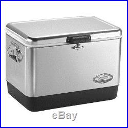 Coleman 6155B707 Steel Belted 54 Quart Cooler Stainless Steel