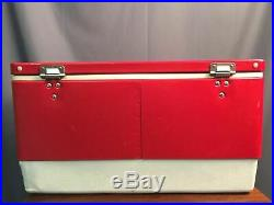 Coleman Cooler Vintage Metal Classic Red With Chrome Locking Latch Made In USA