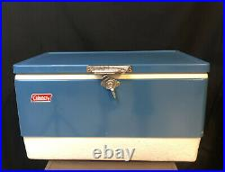 Coleman Cooler Vtg Blue Metal Silver Front Latch Lock 2 Handles 2 Bottle Openers
