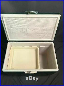 Coleman Snow-Lite Cooler Vintage Metal Classic Green Made In USA Tray Latch