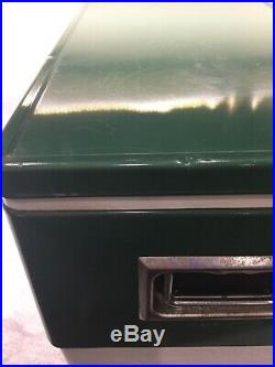 Coleman Snow-Lite Cooler Vintage Metal Green metal handle dual bottle openers