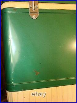 Coleman SnowLite Vintage Diamond Logo Cooler Green Metal With Orignal Box