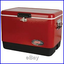 Coleman Stainless Steel Portable COOLER, 54 Quart Rustproof ICE CHEST, Red