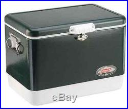 Coleman Steel Cooler 54 Quart Metal Vintage Green Camping Outdoor Gift Ice Chest