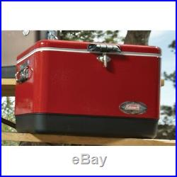 Coleman Steel Cooler Belted Vintage 54 Quart Camping Metal Outdoor Ice Chest Red