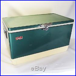Coleman Vintage Cooler Green Large Metal 2 Ice Trays 28 x 15 1/2 x 16