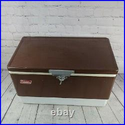 Coleman Vintage Mfg Brown Metal Cooler With Locking Handle Ice Chest