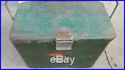 Coleman metal cooler 1950s penguin label w opener & handle vintage Green steel