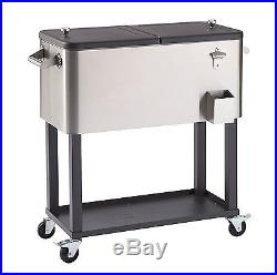 Cooler Stainless Steel Patio Outdoor with Shelf 80 Quart Trinity Bottle Opener