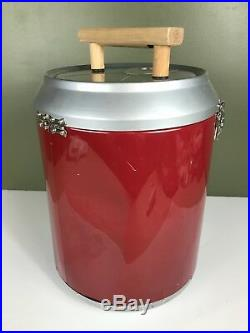Dr. Pepper Can Metal Advertising Cooler with Wood Handle, Hinged Top Insulated