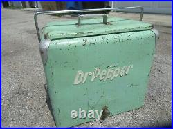 Dr Pepper Vintage 1950's All Metal Picnic Cooler Classic With Tray