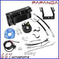 Dual Fans Reefer Oil Cooler Kit Cooling System For Harley Softail 2001-2017