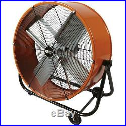 Electric Drum Fan Tilt 24 In. Heavy Duty 2-Speed Direct Drive Wheel Commercial