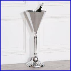 Floor Standing Polished Aluminium Metal Champagne Wine Cooler Ice Bucket