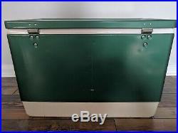 Green Coleman 56 Quart Snow-Lite Metal Cooler #5255-700 with Original Box, Vintage