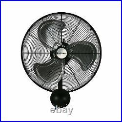Hurricane HGC736474 Wall Mount Fan Metal 20 High Velocity 3 Speed Setting Black