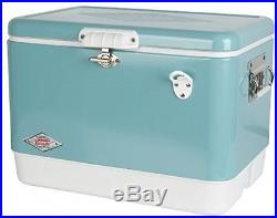 Ice Box 54 Quart Vintage Steel Belted Cooler Outdoor Camping Coleman Turquoise