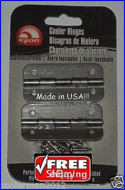 Igloo Stainless Steel Hinges 2pk with Screws #24005 SS Metal Hinge