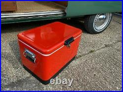 Just Kampers Retro Cool Box 51 L Litre Red Cooler Camping Picnic Beach Gift