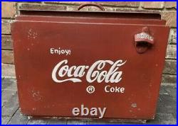 Large Coca Cola Drinks Cooler Box Vintage Retro Style Metal Red Coke