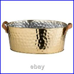 Large Gold Brass Metal Leather Champagne Wine Drink Ice Bucket Cooler Holder