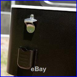 Metal Beverage Cooler Rolling Beverage Cart Outdoor Patio Ice Chest Dark  Brown