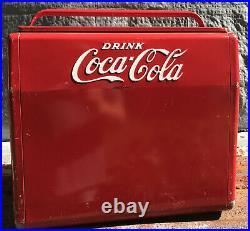 Metal Coca Cola Cooler Antique Vintage CAVALIER MFG With Bottle Opener