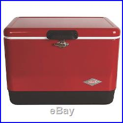 Metal Cooler Ice Chest 54-Quart Red Vintage Style Stainless Steel Camping Party