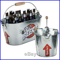 Metal Large Beer Drink Holder Container Cooling Bucket Ice Cooler Bottle Opener
