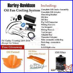 Metal Reefer Oil Cooler Complete Fan Cooling System For Harley Touring 2009-2016