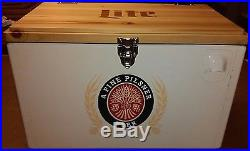 Miller Lite Beer Cooler New York Jets Logo metal with wood top NEW