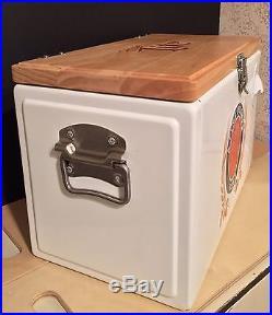 Metal Ice Chest Miller Lite Beer Metal Cooler With Wooden Top