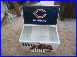 Miller Lite Chicago Bears Ice Box Metal Cooler New With Box