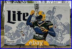 Miller Lite Green Bay Packers Ice Box Metal Cooler Beer Chest NFL Lambeau Leap
