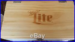 Miller Lite Metal/Wood Insulated Cooler With Bottle Opener