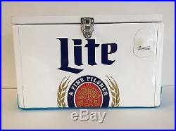 Miller Lite Retro Cooler Metal With Wood Lid Bottle Opener New Scuffs In Box