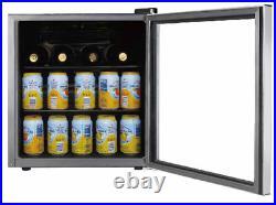 Mini Refrigerator 70 Can Beverage Wine Cooler Fridge Door Soda Beer Glass