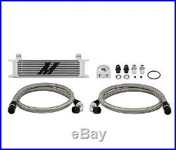 Mishimoto MMOC-U 10-Row Oil Cooler Kit Metal Braided Lines Universal Engine Tran