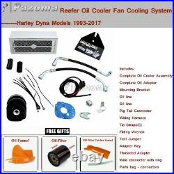 Motorcycle Reefer Oil Cooler Complete Fan Cooling System for Harley Dyna FXDB