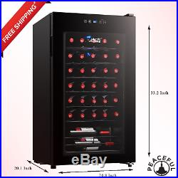 NEW 34-Bottle Wine Cooler LED Refrigerator Fridge Chilling Cellar Bar Metal Rack