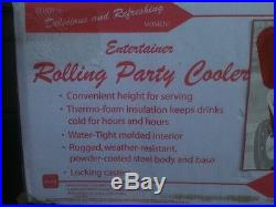 NEW Coca Cola Rolling Party Cooler Metal Insulated