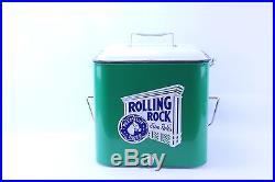 NEW UNUSED ROLLING ROCK EXTRA PALE METAL COOLER WITH OPENER AND SHIPPING BOX