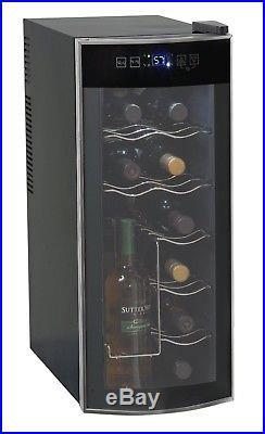 NEW Wine Cooler Fridge 12 Bottle Refrigerator Compact Chiller Glass Door Black