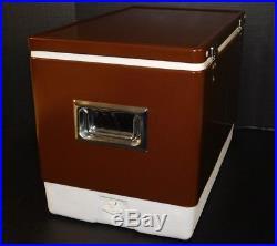 NOS Vtg Coleman Snow-Lite Brown Metal Cooler Drink Storage Tailgate Ice Chest