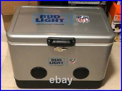 New NFL Super Bowl 54 LIV Bud Light Metal Cooler Built In Bluetooth Speakers Lmt