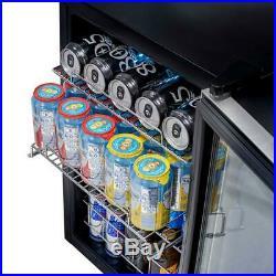 NewAir Freestanding Beverage Cooler Stainless Steel 84 Can Storage LED Lighting