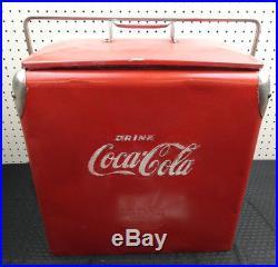 Original Vintage Coca-cola Action Metal Cooler, Tray, Side Opener