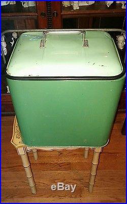 Old Antique Vintage Pleasure Chest Metal Ice Picnic Car Cooler RARE Green Color