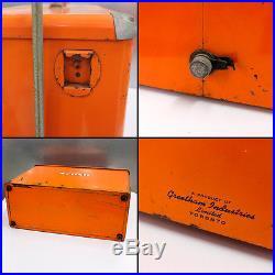 Orange Crush Metal Pic Nic Cooler Vintage 1960s Greetham Industries